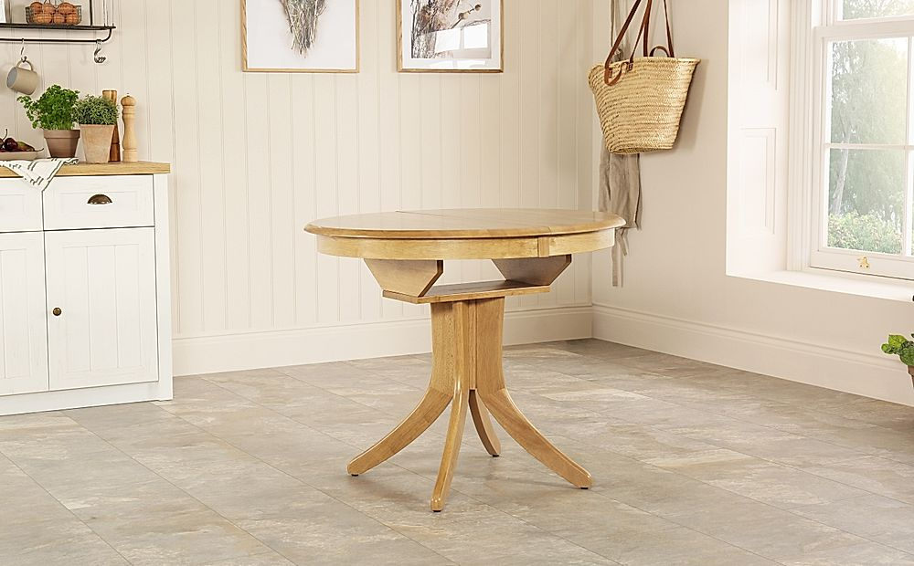 Hudson Round Oak 90 120cm Extending Dining Table Furniture And Choice
