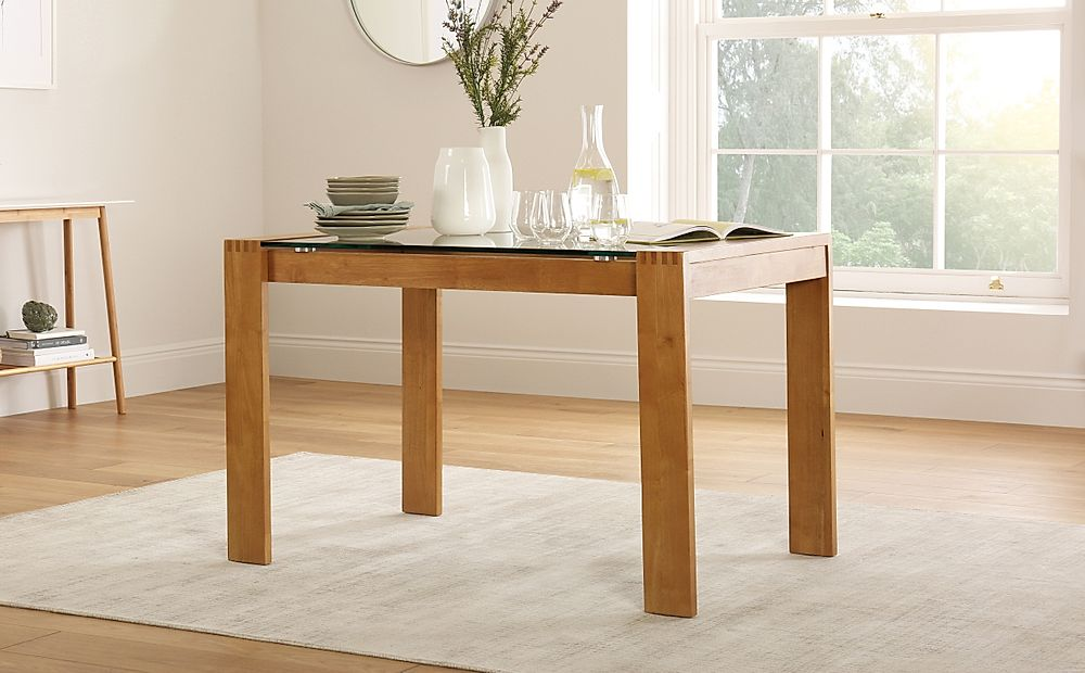 Tate Oak and Glass 120cm Dining Table