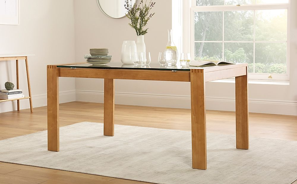 Tate Oak and Glass 150cm Dining Table