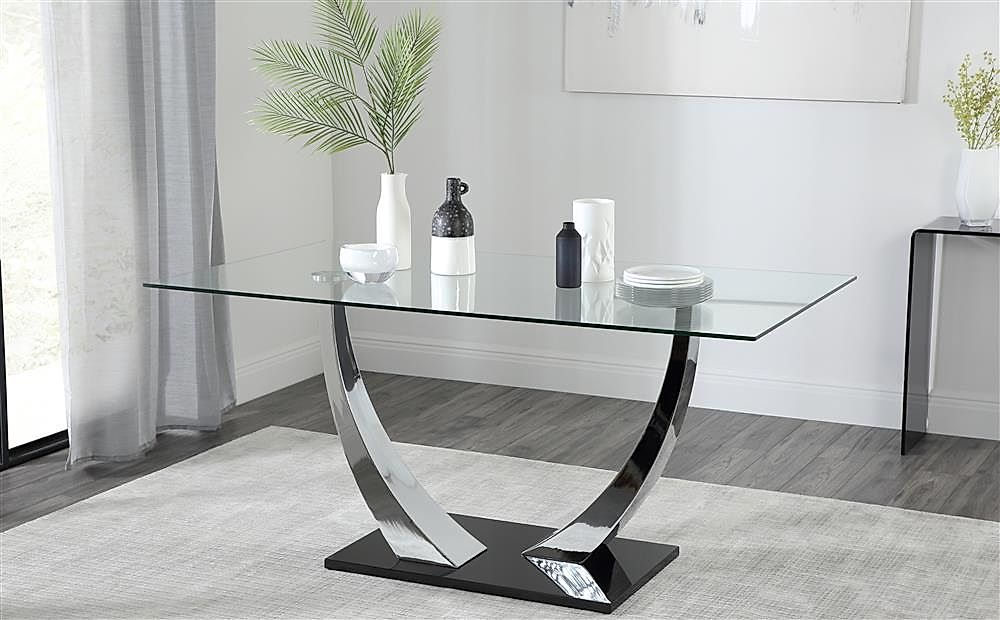Peake Glass and Chrome Dining Table Black Gloss Base 160cm