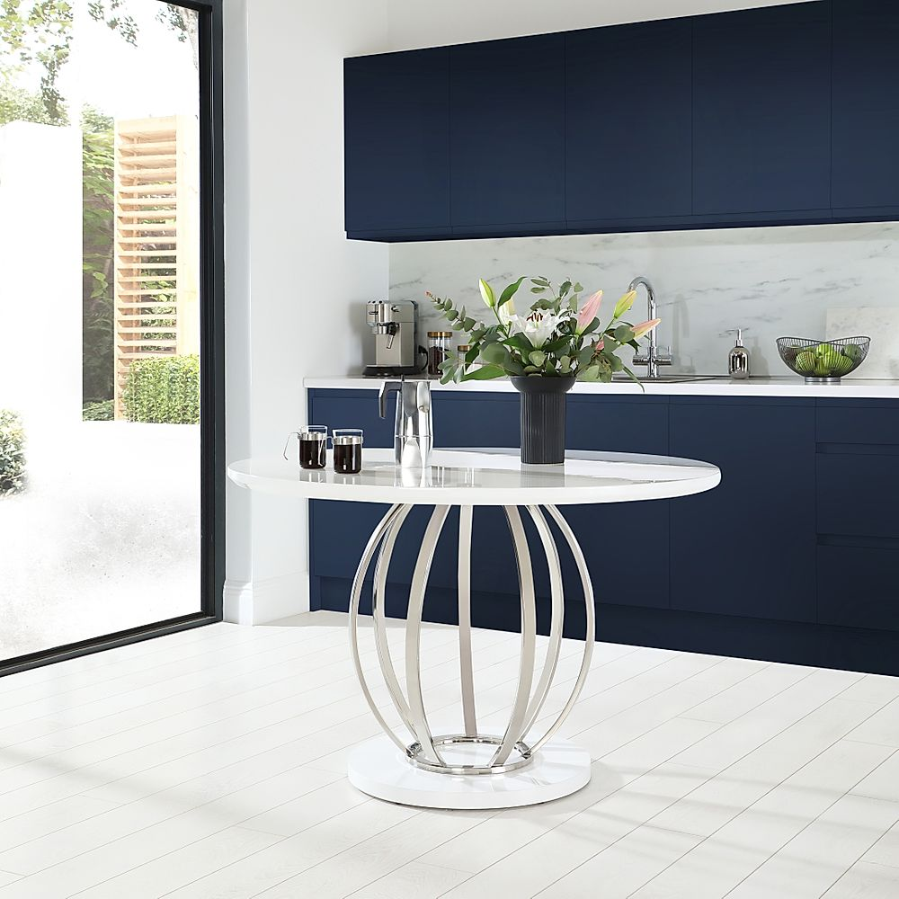 Savoy Round White High Gloss and Chrome 120cm Dining Table