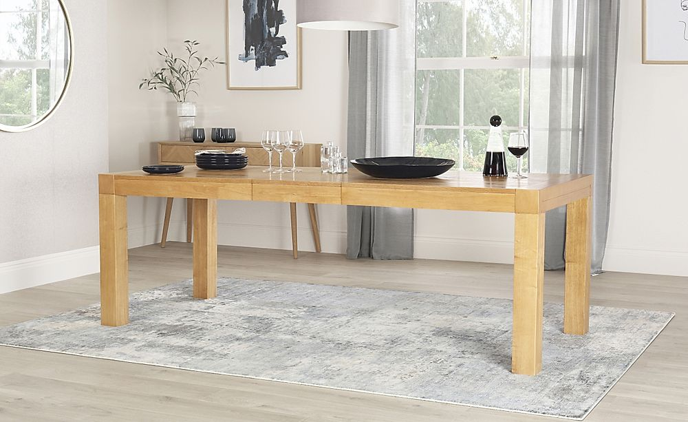 Cambridge Oak Extending Dining Room Table 175x220