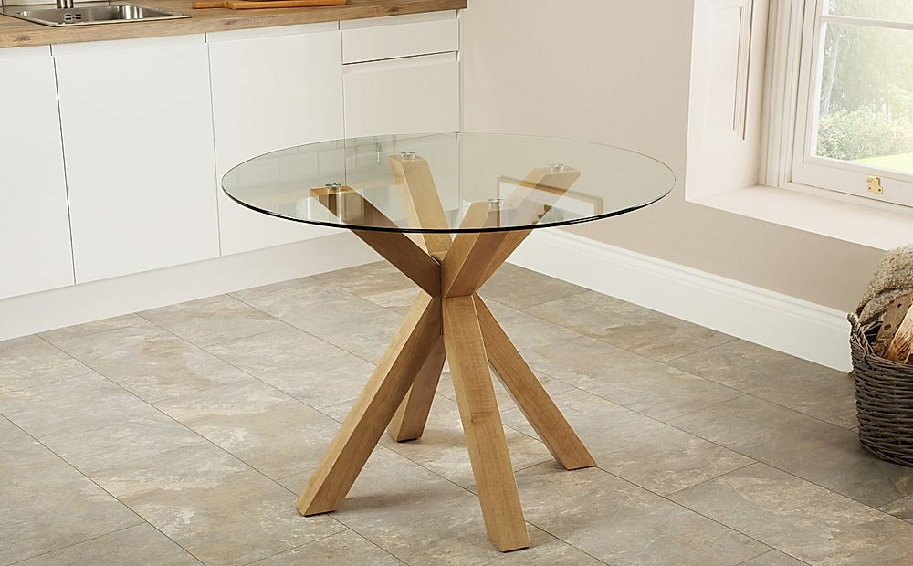 Hatton Round Oak And Glass 100cm Dining, Round Glass And Oak Dining Table