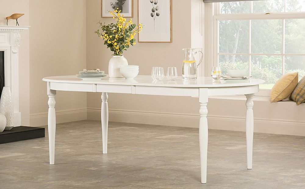 Albany Oval White Extending Dining Table 170-210cm