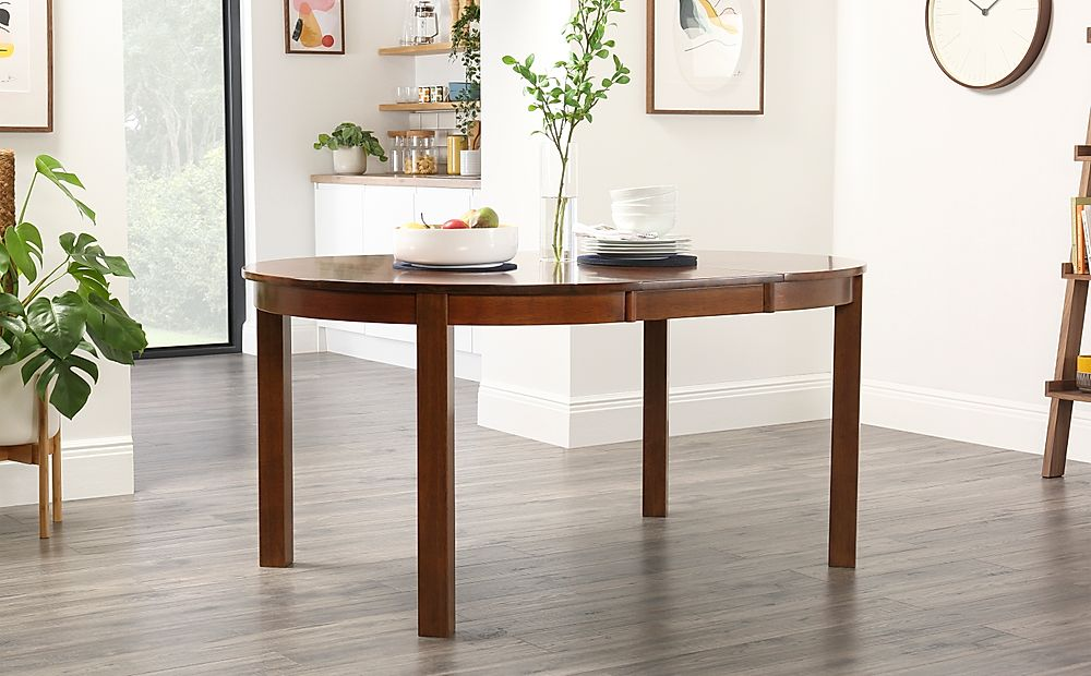 Marlborough Round Dark Wood Extending Dining Table-120-160cm