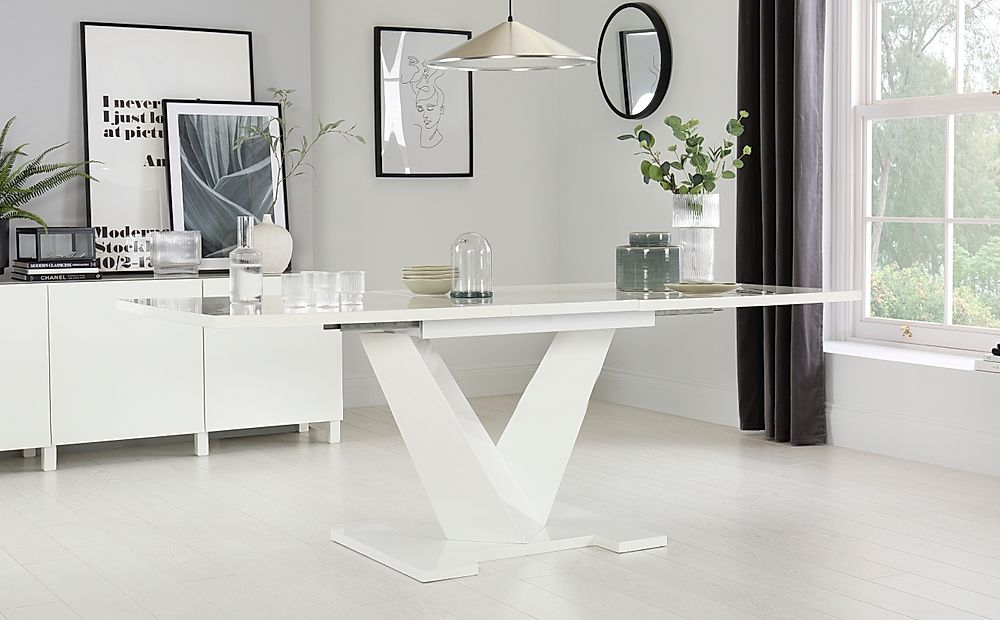 Turin White High Gloss Extending Dining Table 160-200cm