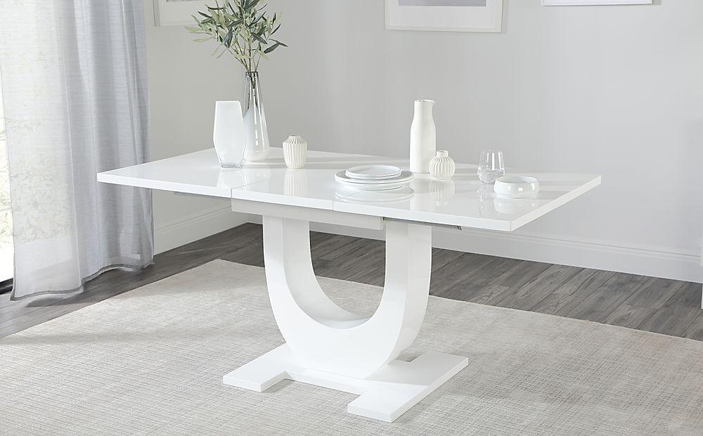 Oslo White High Gloss Extending Dining Table 120-160cm