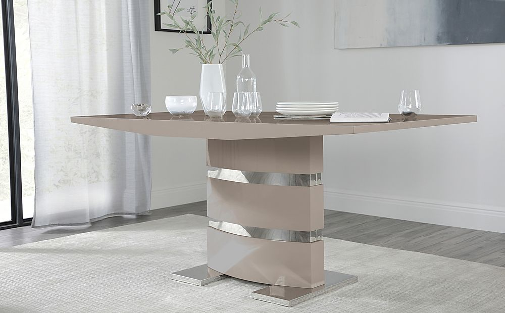 Komoro Taupe High Gloss Dining Table 160cm