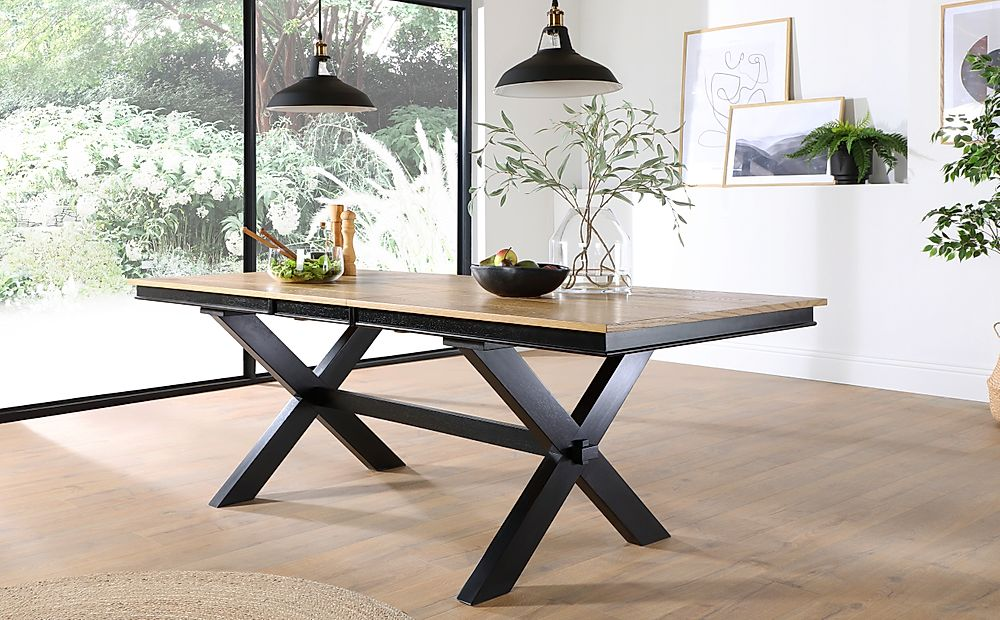 Grange Painted Black and Oak 180-220cm Extending Dining Table