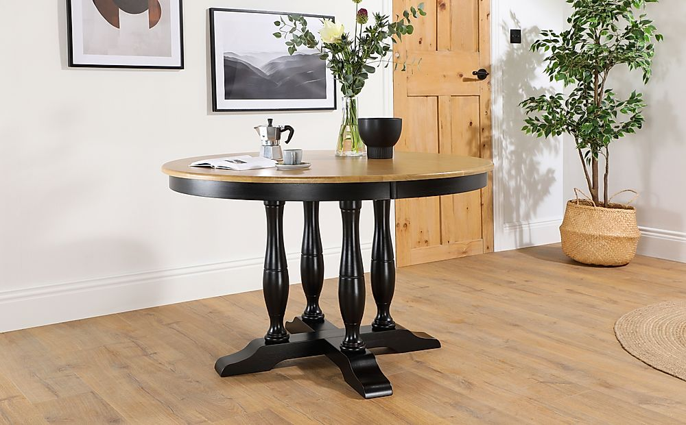 Highgrove Round Painted Black and Oak 120cm Dining Table