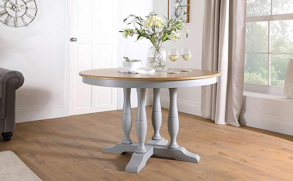 Highgrove Round Painted Grey and Oak 120cm Dining Table