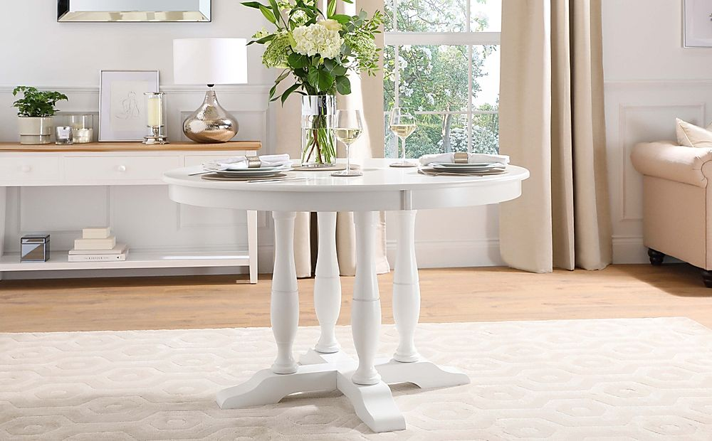 Highgrove Round White Wood 120cm Dining Table