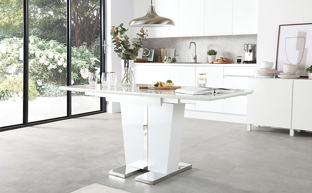 Vienna White High Gloss 120-160cm Extending Dining Table