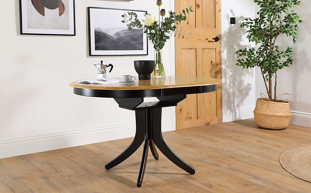 Hudson Round Painted Black and Oak 90-120cm Extending Dining Table
