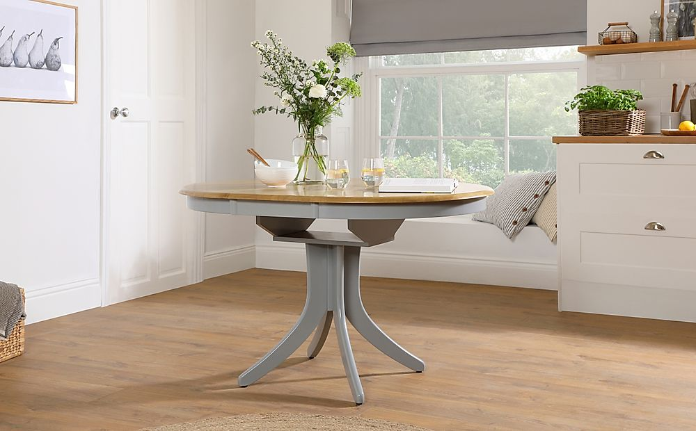 Hudson Round Painted Grey and Oak 90-120cm Extending Dining Table