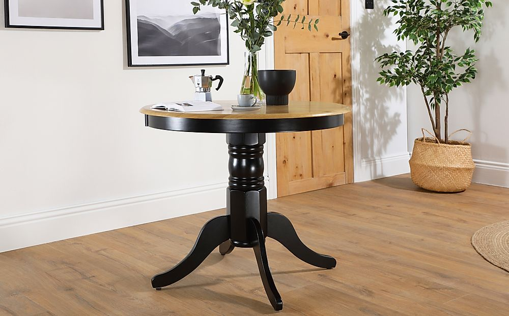 Kingston Round Painted Black and Oak 90cm Dining Table
