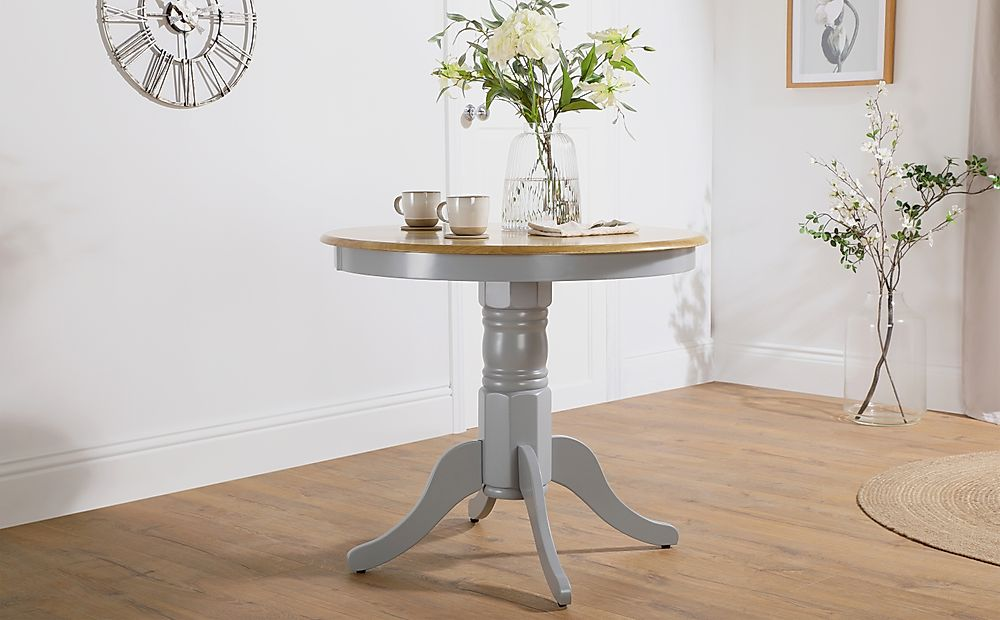 Kingston Round Painted Grey and Oak 90cm Dining Table