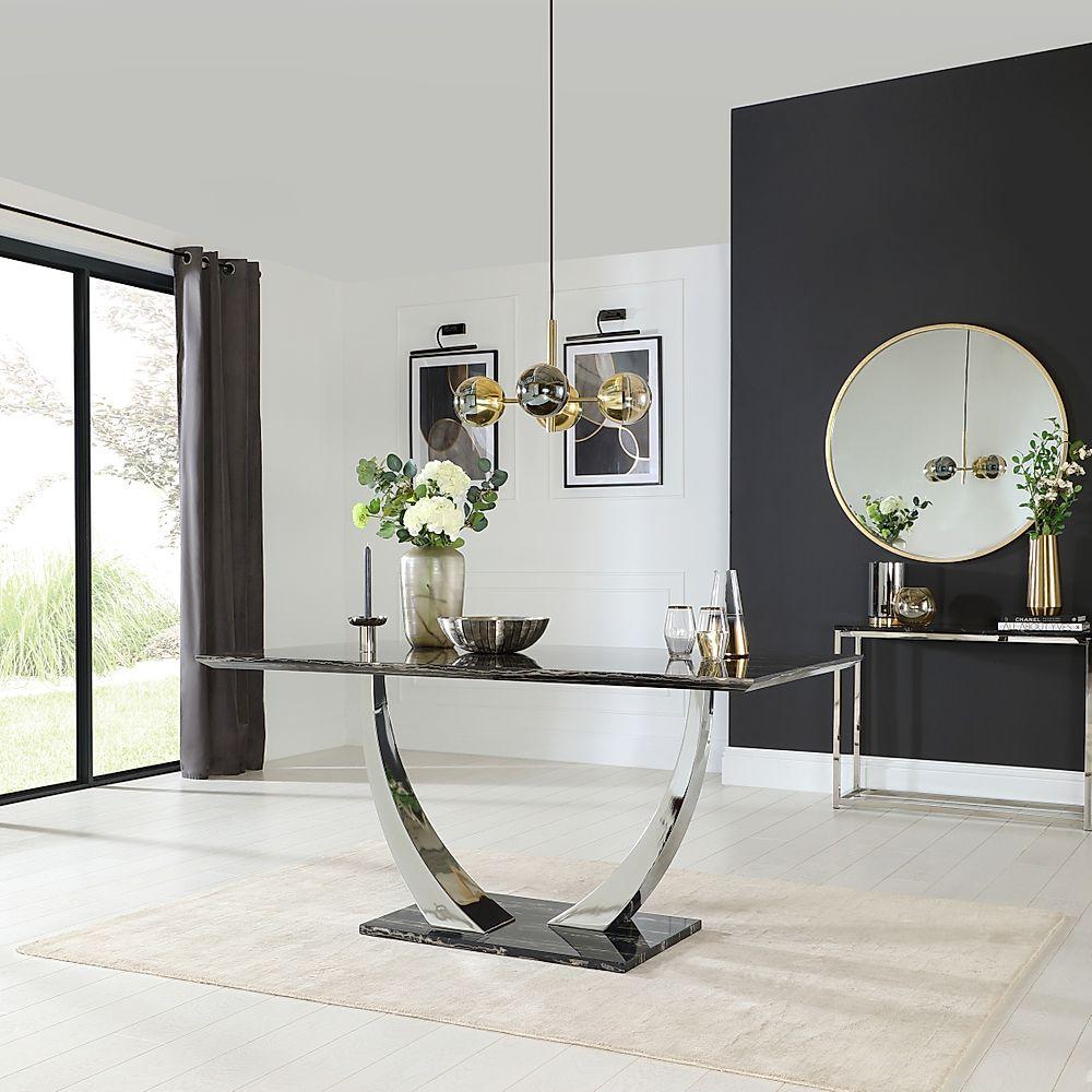 Peake Black Marble & Chrome 160cm Dining Table