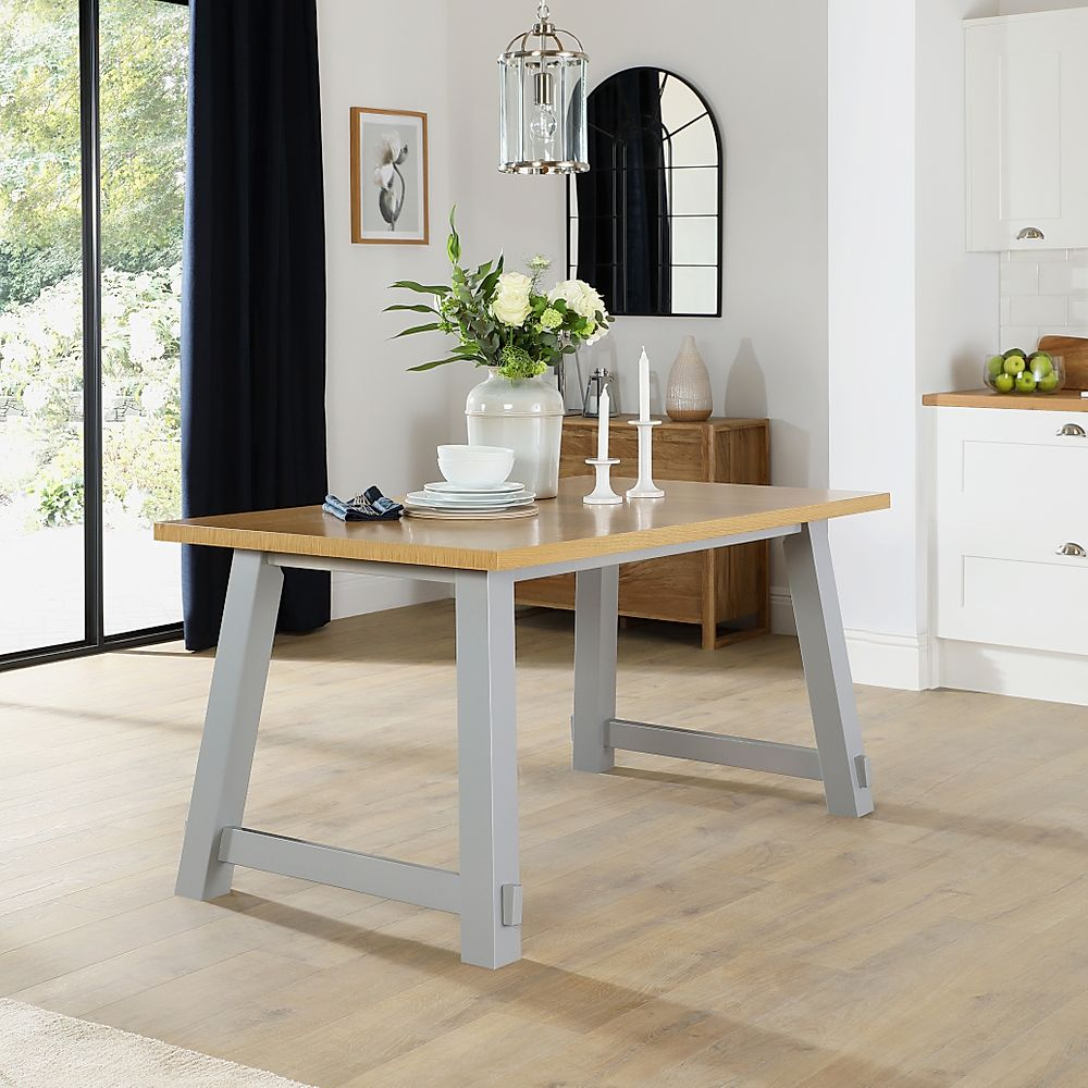Croft Painted Grey and Oak 150cm Dining Table