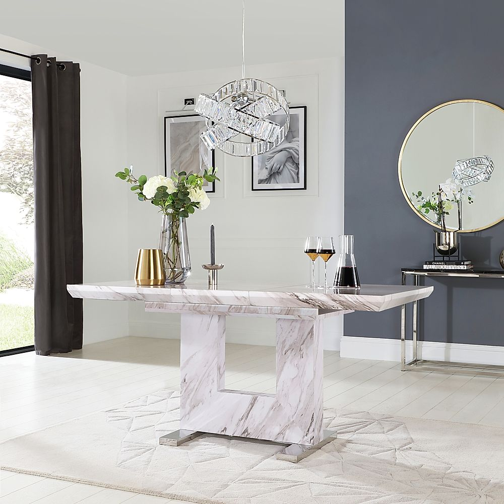 Florence Grey Marble 120 160cm Extending Dining Table Furniture And Choice