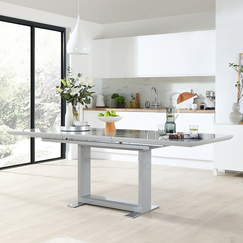 Tokyo Grey High Gloss 160-220cm Extending Dining Table