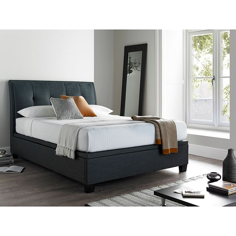 Kaydian Accent Ottoman Storage Bed - Double - Slate Fabric
