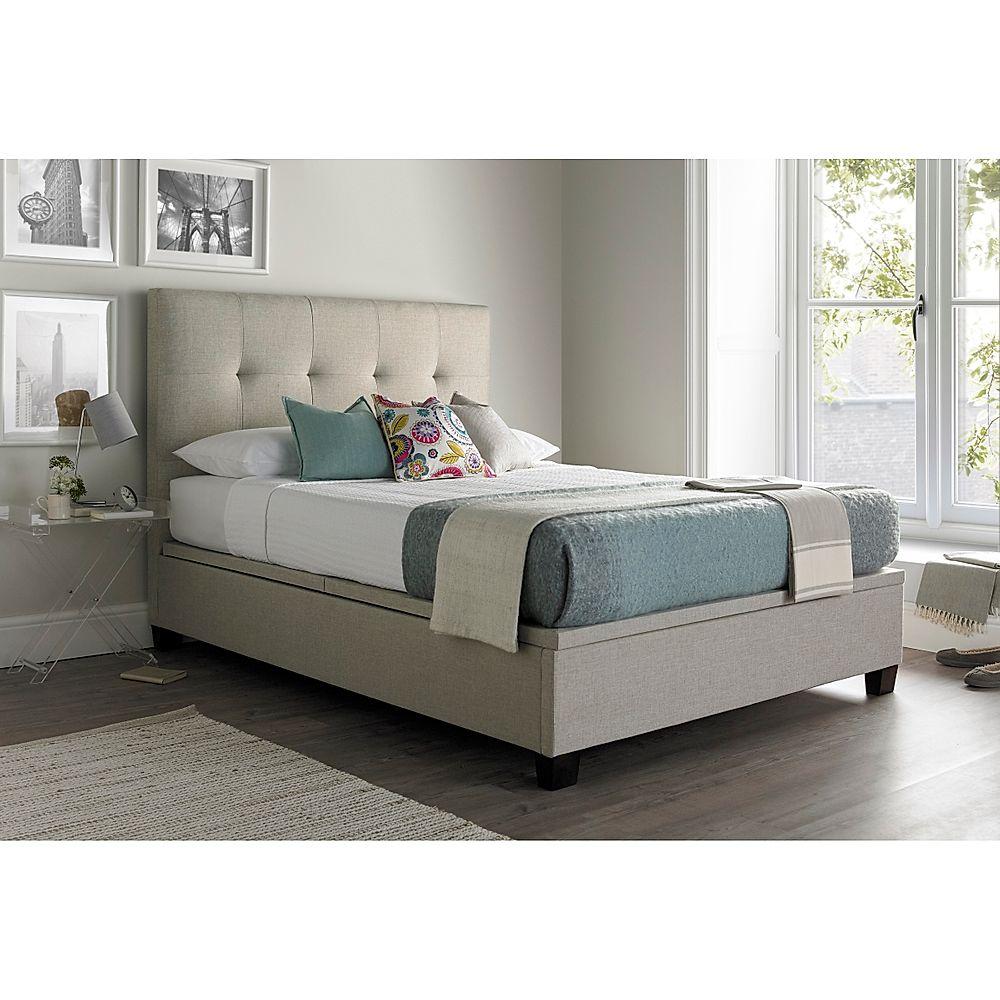 Kaydian Walkworth Oatmeal Fabric Ottoman King Size Bed