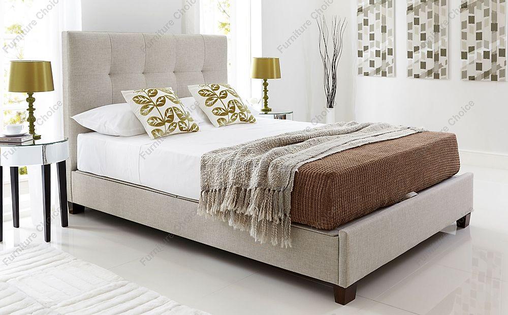 Kaydian Walkworth Ottoman Storage Bed - Super King Size - Oatmeal Fabric