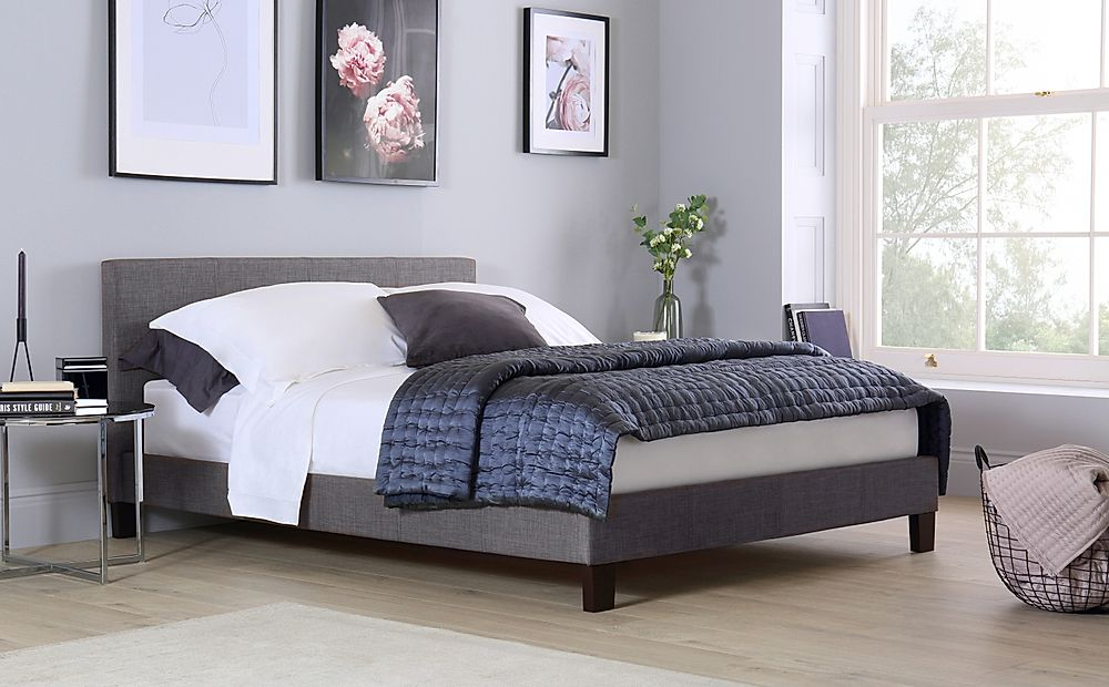 Berlin Grey Fabric King Size Bed