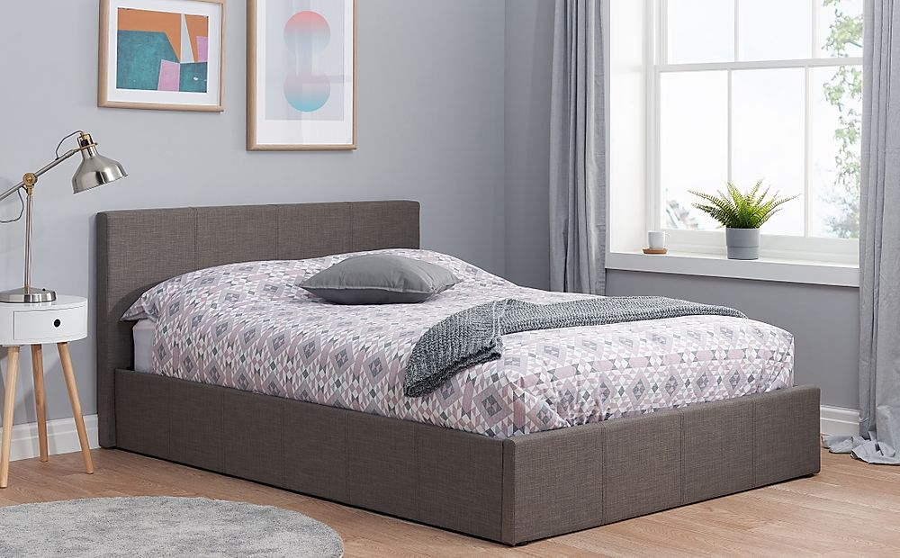 Berlin Grey Fabric Double Ottoman Bed