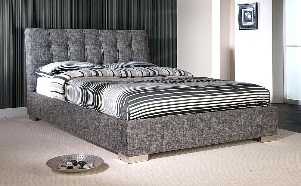 Ophelia Grey Fabric Double Bed