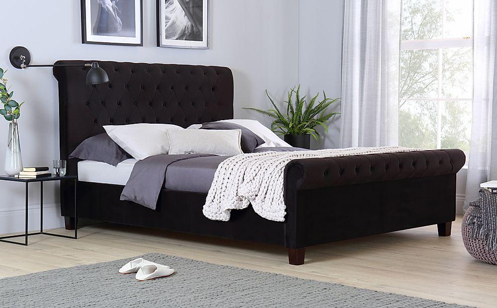 Orbit Black Velvet Bed Double