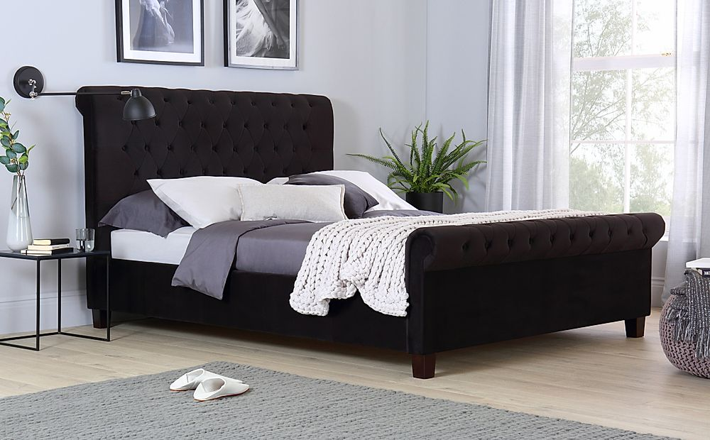 Orbit Black Velvet Bed Super King Size