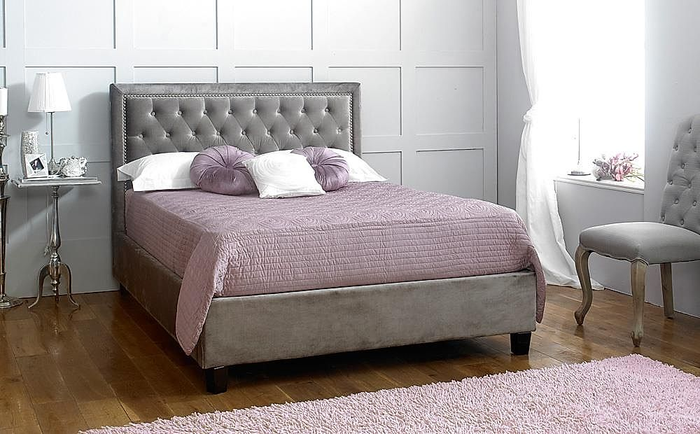 Rhea Grey Fabric Double Bed