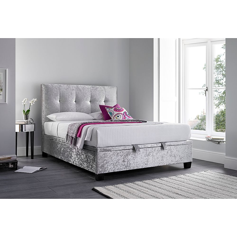 Kaydian Walkworth Ottoman Storage Bed - Double - Silver Fabric