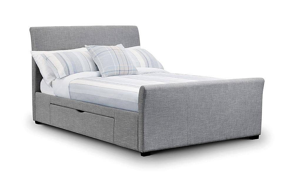Capri Grey Fabric 2 Drawer King Size Bed