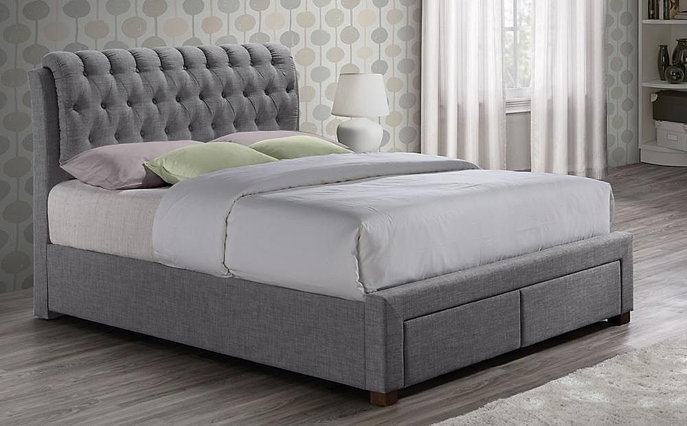 Valentino Grey Fabric Bed Double 2 Drawers