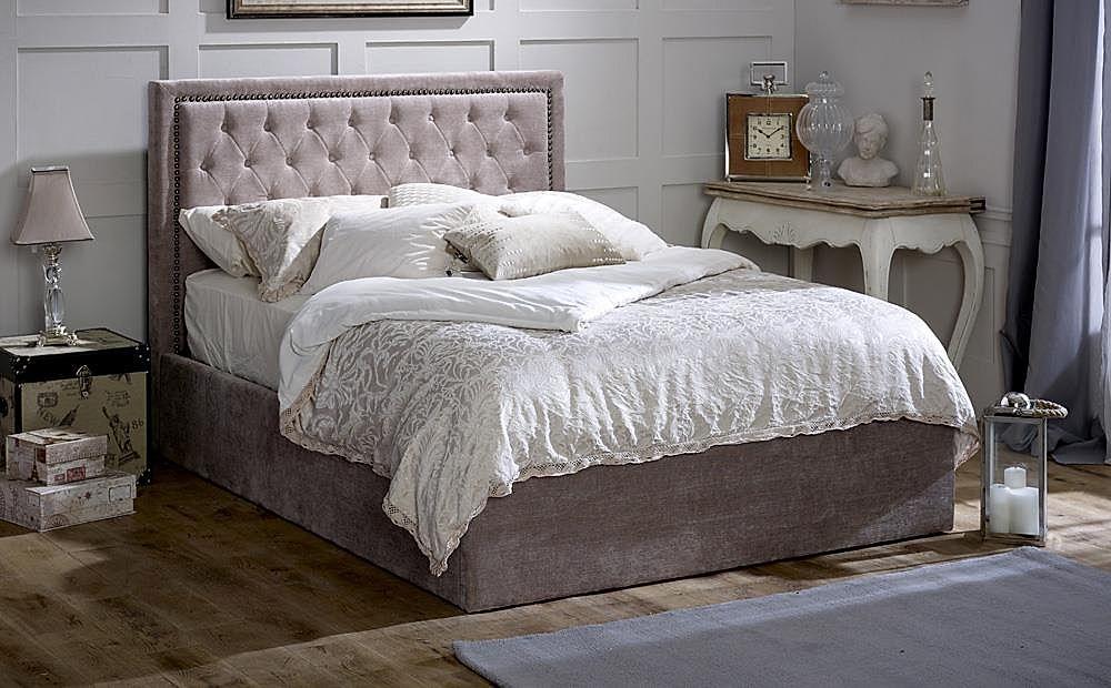 Rhea Mink Ottoman Storage Fabric King Size Bed