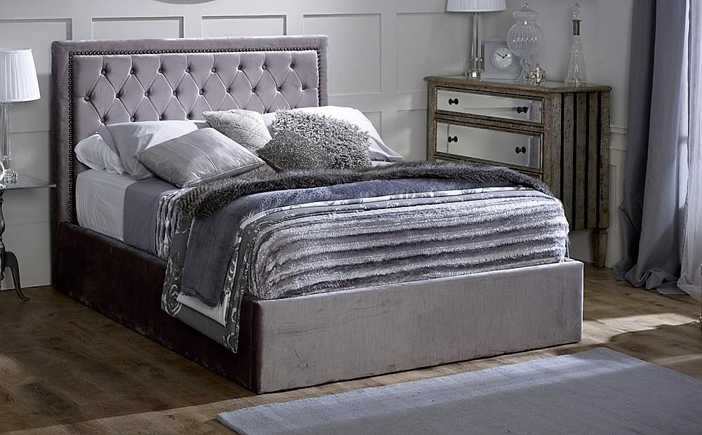 Rhea Grey Ottoman Storage Fabric Double Bed