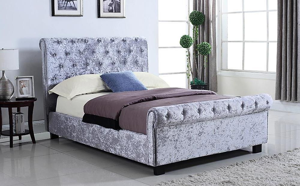 Whitford Silver Crushed Velvet Double Ottoman Storage Bed