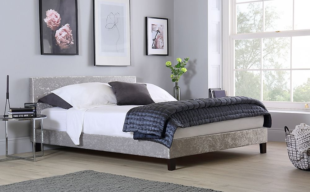 Berlin Silver Crushed Velvet Double Bed