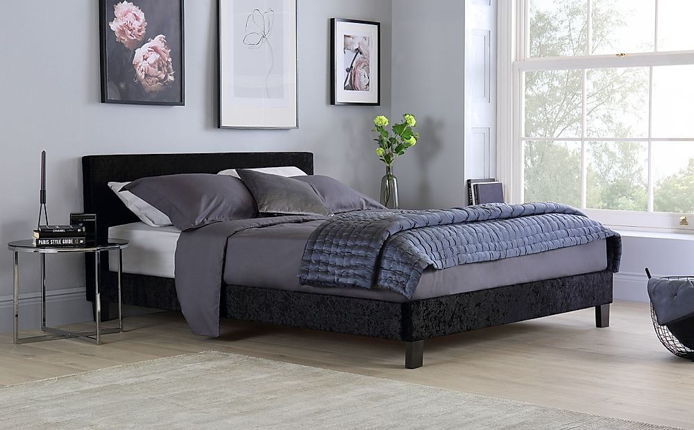 Berlin Black Crushed Velvet Small Double Bed