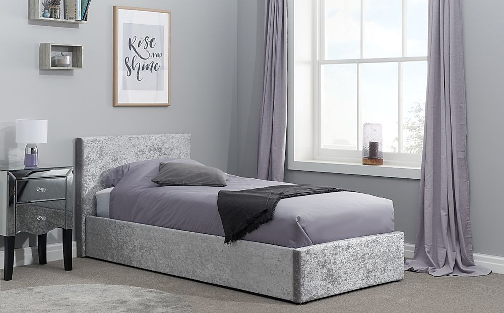Berlin Silver Crushed Velvet Ottoman Single Bed