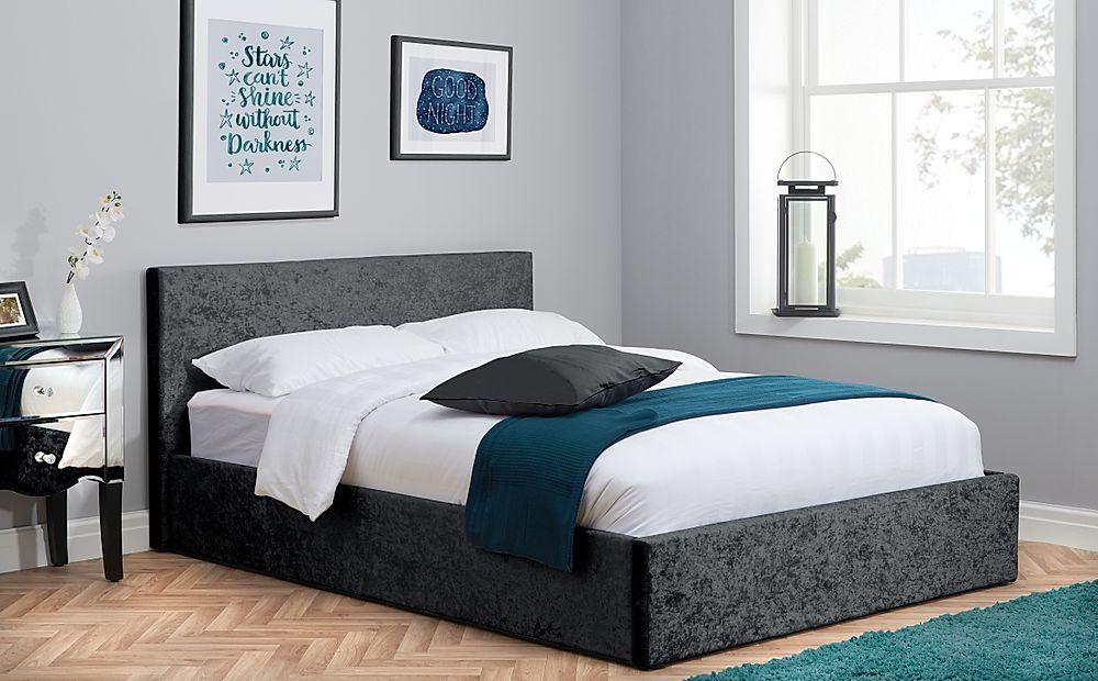 Berlin Black Crushed Velvet Ottoman King Size Bed