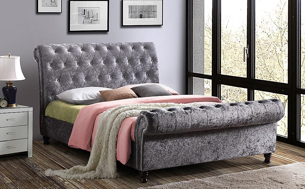 Castello Silver Crushed Velvet Super King Size Bed