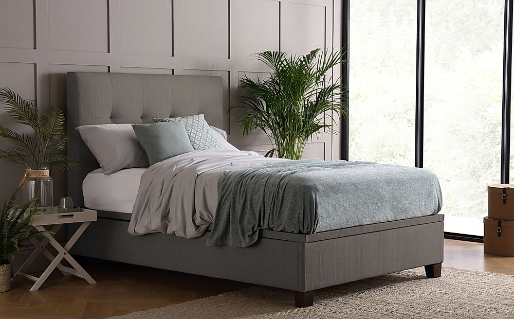 Kaydian Walkworth Elephant Grey Fabric Ottoman Storage Bed - Double