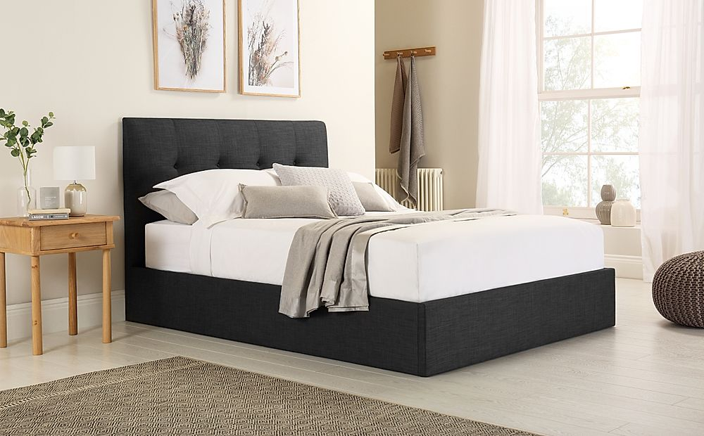 Caversham Slate Grey Fabric Ottoman Storage Bed Double