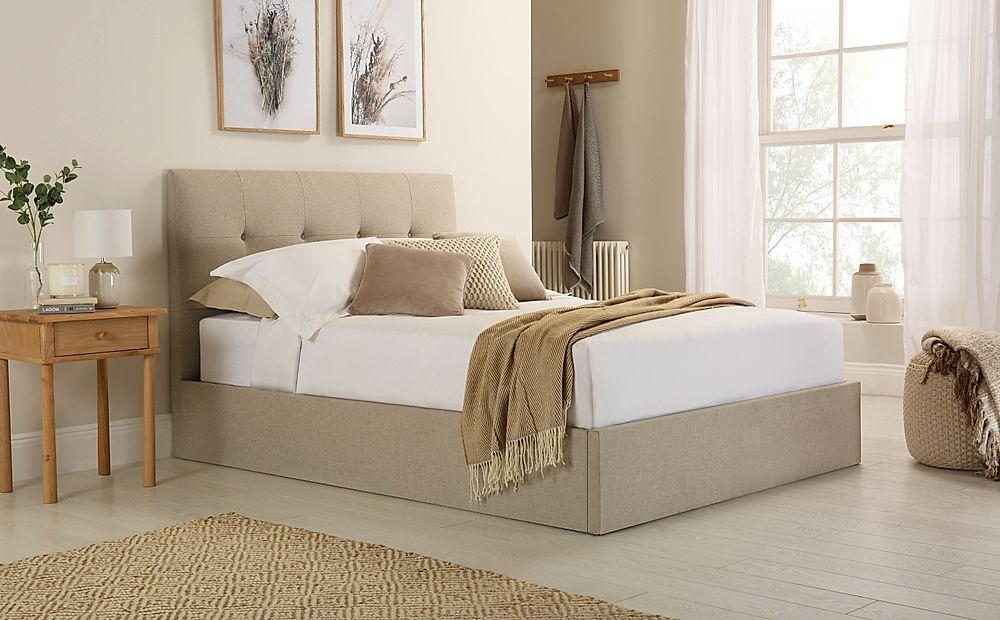 Caversham Oatmeal Fabric Ottoman Storage Bed King Size