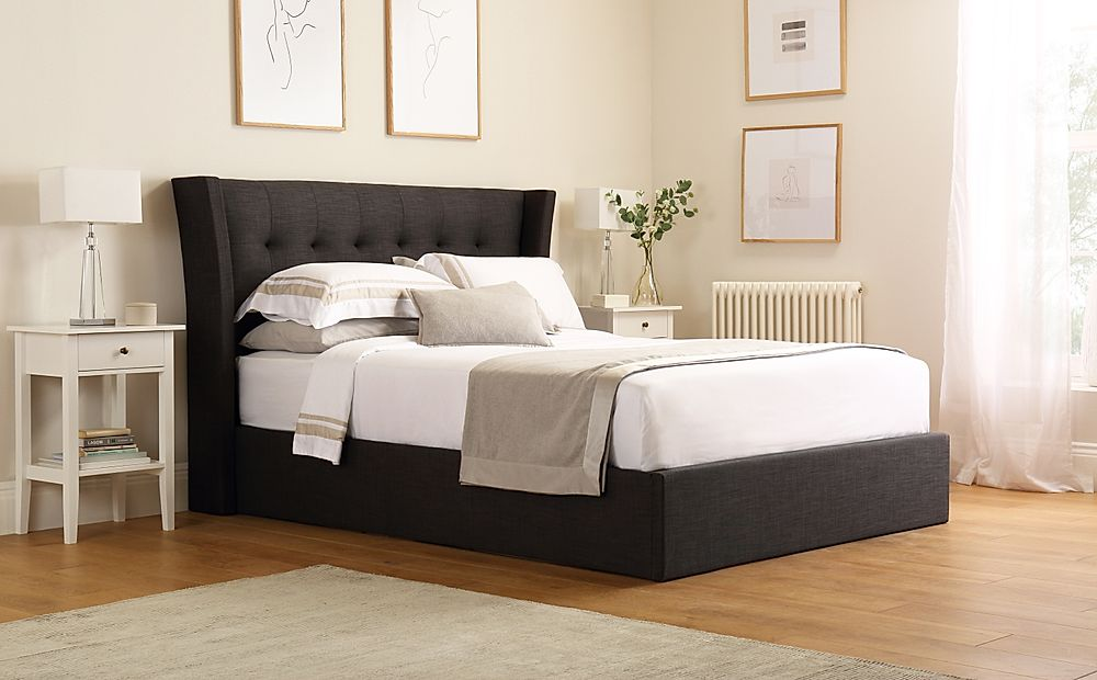 Kenley Slate Grey Fabric Ottoman Storage Bed King Size