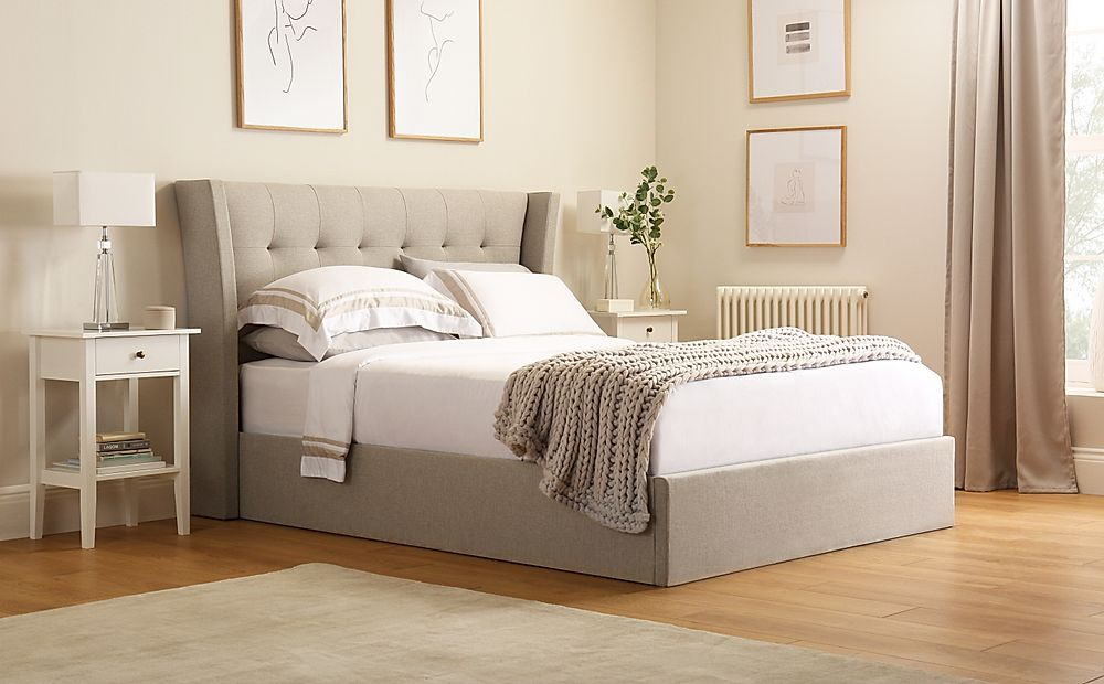 Kenley Oatmeal Fabric Ottoman Storage Bed Double